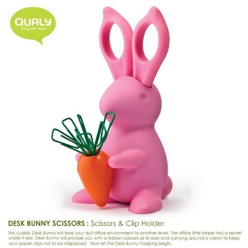 Qualy Living Styles Home Design Office Desk Bunny Scissors Clip Holder Pink Product of Thailand