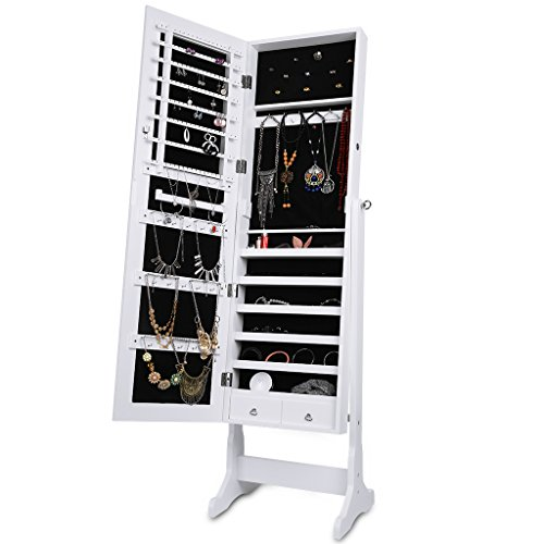 LANGRIA Mirrored Jewelry Cabinet Organizer, Full Length Standing Jewelry Storage Armoire with 2 Drawers and 3 Adjustable Angle, White ()