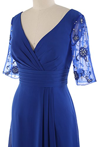 MACloth Women Half Sleeves V Neck Cocktail Dress Short Mother of the Bride Dress Verde
