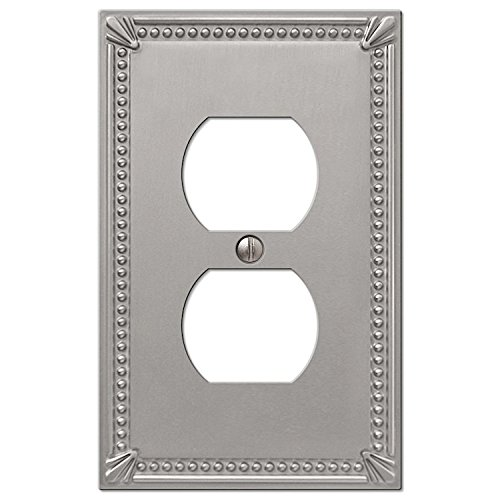 Nickel Antique Beads - Imperial Bead Single Duplex Cover Plate in Brushed Nickel
