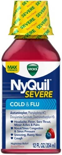 Vicks NyQuil Severe Cold & Flu Relief Liquid (Pack of 2)
