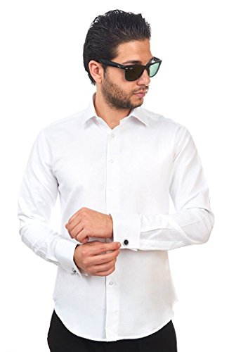 (AZAR MAN New Mens Dress Shirt White French Cuff Tailored Slim Fit Wrinkle Free By (Medium 15/15.5))