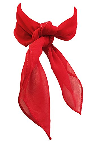 Sidecca Retro Classic Chiffon Square Neck Head Scarf (One Size, Red - One Square Shops