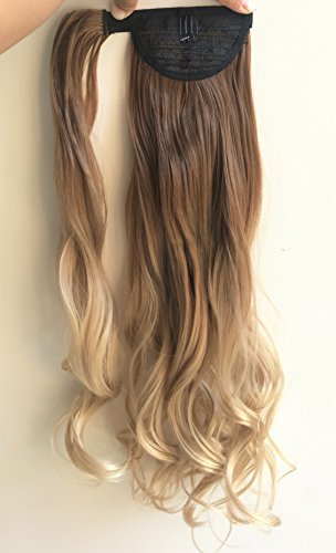 "Price comparison product image 20"" Synthetic Wavy Curly Ombre Wrap Around Ponytail Clip in Hair Extensions Hairpieces (Wavy-light brown to sandy blonde)"