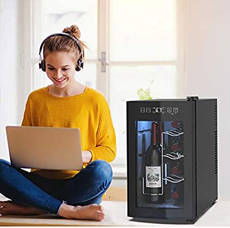 CLING Bodega Independiente Refrigerador Encimera Mini Vino Compacto Capacidad para 8 Botellas Control Digital Puerta de Vidrio Templado de Doble Capa Almacenamiento Inteligente de Vino