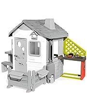Smoby 810901 Aanbouwkeuken voor speelhuisjes, speelkeuken voor speelhuis, met een gootsteen en veel accessoires, geschikt voor de meeste speelhuisjes