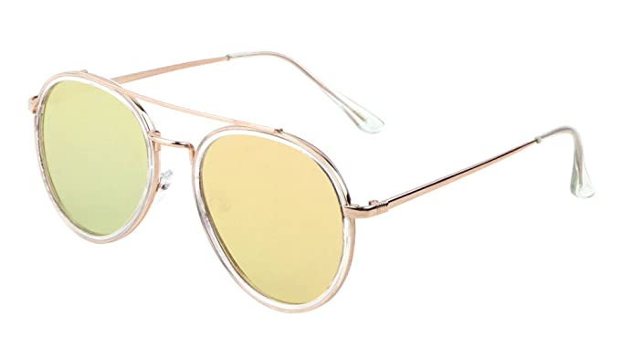 3443aa5872a Glamour Flat Lens Aviator Sunglasses Thin Frame Unisex Fashion Eyewear  (Aviator-Rose Gold