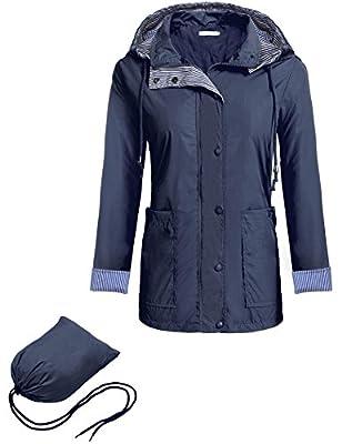 Pagacat Women's Active Lightweight Rain Jacket Waterproof Packable Hooded Raincoat S-XXL