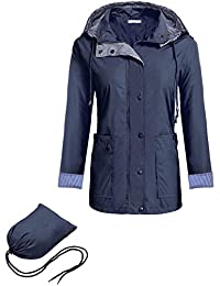 Meaneor Women Packable Hooded Long Sleeve Outdoor Waterproof Raincoat Jacket