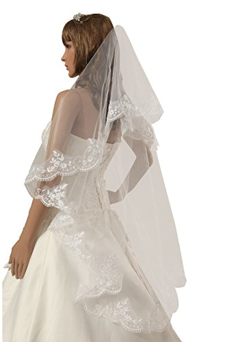 Beautiful One Tier (1t Beautiful Fingertip Length Wedding Veils with Lace Applique)