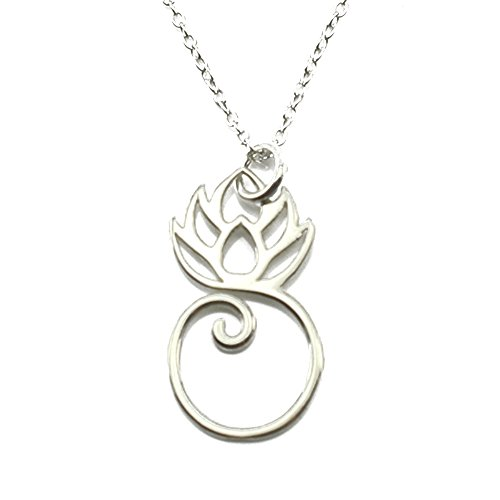 Sterling Silver Lotus Flower Pendant Necklace (Charm Holder)