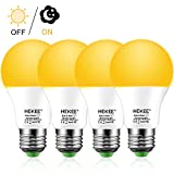 Dusk To Dawn Light Bulbs A19 8W 720 Lumens, Amber LED Orange-Yellow Sensor Bulb, 60 Watt Equivalent, Outdoor, Security Bulb(Auto On/Off), E26 Screw Base(4 Pack)