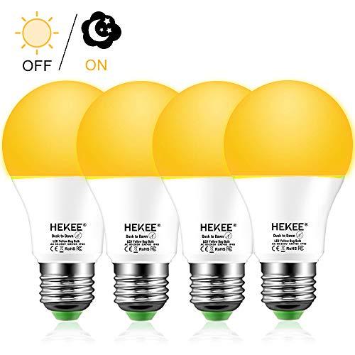 Bug Bulb Repellent Light Yellow (Dusk To Dawn Light Bulbs A19 8W 720 Lumens, Amber LED Orange-Yellow Sensor Bulb, 60 Watt Equivalent, Outdoor, Security Bulb(Auto On/Off), E26 Screw Base(4 Pack))