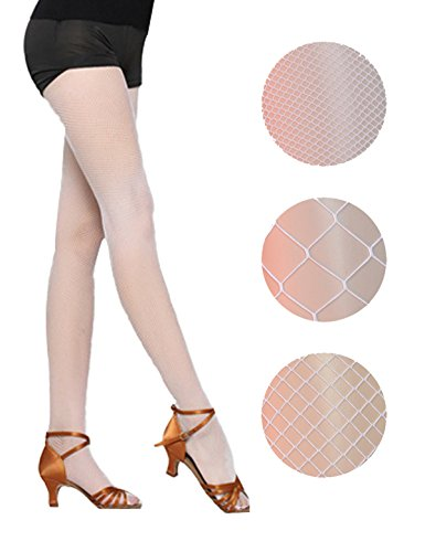 White Nylon Fishnet - DRESHOW 4 Packs Fishnet Stockings Sexy Cross Tights Seamless Nylon Large Mesh Hollow Out Pantyhose, white