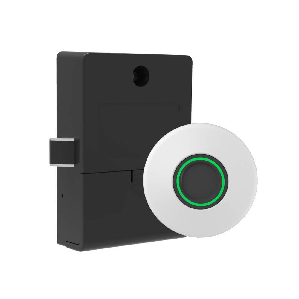 Fingerprint Lock Cabinet Locks Biometric Keyless Wooden Box Furniture Drawer Fingerprint Locks,Suitable for Drawer Cabinet Wardrobe (White)