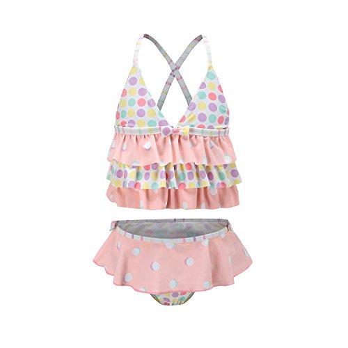 Tankini Toddler 2 Piece Girls (Toddler Girls Two Pieces Tankini Swimsuits Ruffle Swimwear Beach Bathing Suit for Girls Pink 3T)