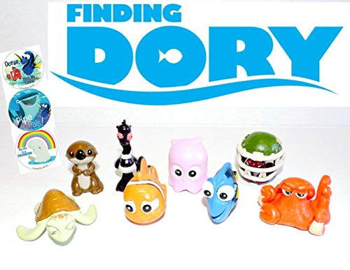 Finding Dory Disney Movie Deluxe Cupcake Topper Figure Set of 8 with 6 Temporary Tattoos ()