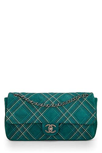 (CHANEL Green Quilted Suede Stitched Jumbo Flap (Pre-Owned))
