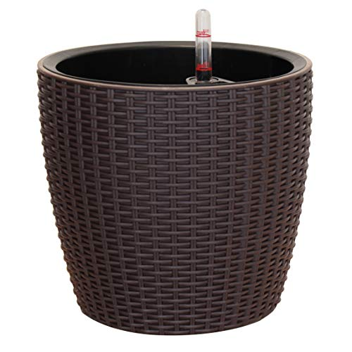 TABOR TOOLS Self-Watering Planter 8.5 Inch, Modern Decorative Pot for Outdoor or Indoor Garden, Elegant Plastic Wicker Rattan Look, Suitable for Plants & Flowers. TB502A. (8.5 Inch, Coffee Brown)