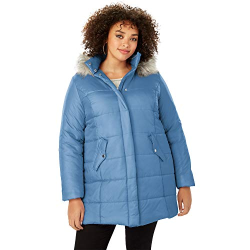 Roamans Women's Plus Size Classic-Length Quilted Parka with Hood - Dusty Indigo, 1X