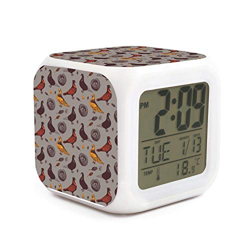 Price comparison product image DFTRR Pigeons Egg nests Style 7 LED Color Change Digital Thermometer Alarm Clock with LCD Display Cube Night Light for Kids