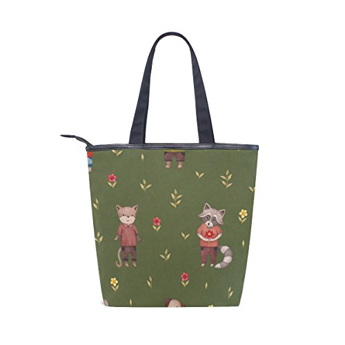 Animal Womens Canvas Bag Handbag Shoulder Flower Tote Cute MyDaily Fox HwUFq8