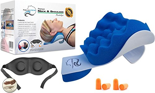 Cervical Neck and Shoulder Relaxer and Revitalizer by NeckZEN - Best Stiff Neck and Shoulder Pain Relief Support Pillow and Relaxation Device - BONUS Eye Mask and Ear Plugs