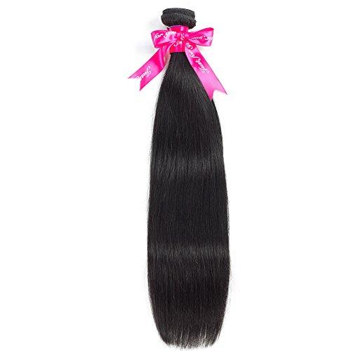 Hermosa Hair Brazilian Straight Hair 1 Bundle Unprocessed Brazilian Virgin Human Hair Bundles Natural Black Color (22 inch, natural black)