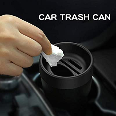 haimeimaoyi(US) HM Black Automotive Center Console Cup Holder Trash Bin Multi-Function Detachable Car Garbage Trash Can with Insert Card Slot Coin Collecting Tissue Storage Box: Automotive