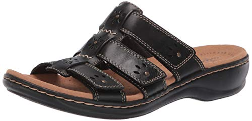 CLARKS Women's Leisa Spring Sandal, Black Leather, 60 M US ()
