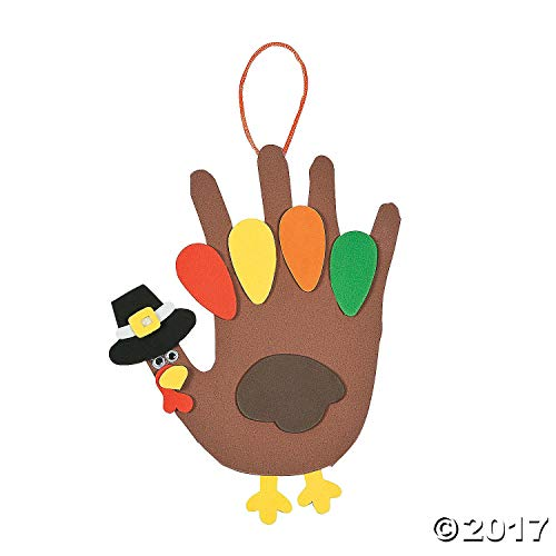 Lot of 12 Foam Handprint Turkey Craft Kit Thanksgiving Kids School -