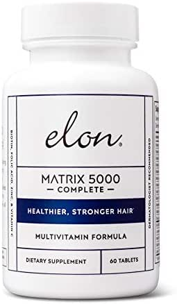 Elon Matrix 5000 Complete Multivitamin with 5000 Mcg Biotin & Niacinamide | Recommended by Dermatologists for Healthier & Stronger Hair | Pharmaceutical-Grade Ingredients & For All Hair Types, 60 Tabs