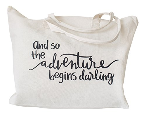 Canvas Tote Bag with Special Saying - Zipper Top, Interior Pocket, 100% - Cotton Zip Tote Top