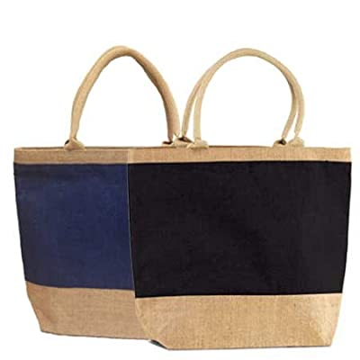 """Pack of 50 - Eco-friendly Reusable Bag Women Shopping Bag Jute Burlap Tote bag with Cotton webbed handles and zippered closure bags in Bulk Size 17.5""""W x15""""H x 5"""" Gusset - CarryGreen Bags"""