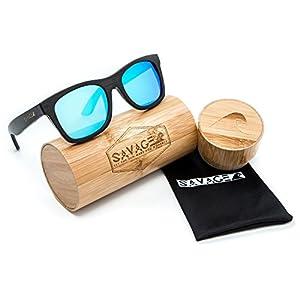 SAVAGE original bamboo wayfarer polarized sunglasses - handmade! (Black Frame, Blue Mirror Lens)