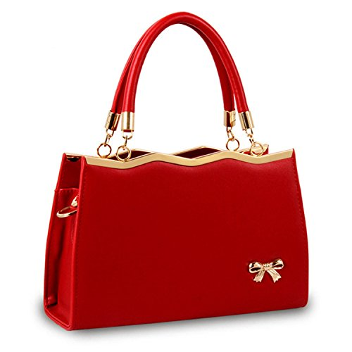 Casual PU leather bags fashion Messenger bags Crossbody famous brands designer,Red ()