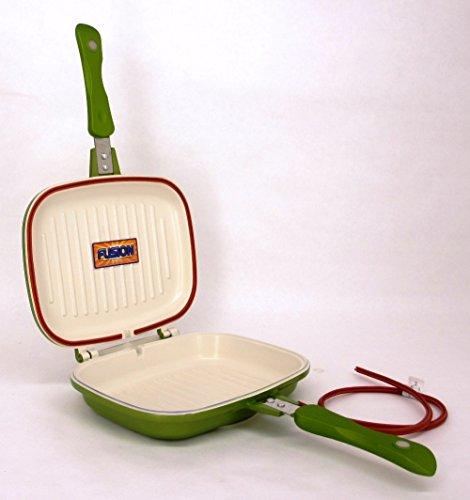 Cook's Companion Cast Aluminum Nonstick Ceramic Easy Grill Flip Pan Green