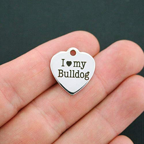 Bulldog Stainless Steel Charm - I Love My Bulldog - Quantity Options - BFS164 ()
