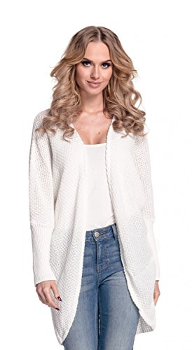 Glamour Empire. Womens Warm Buttonless Cardigan Chunky Textured Knit. 323 (Ecru, ONE SIZE US (Textured Stretch Knit)