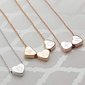 Hearts Initial Necklace Hand stamped 16k Gold White Gold Rose Gold Plated Dainty Heart Charm Dainty Christmas Wedding gifts Bridesmaids