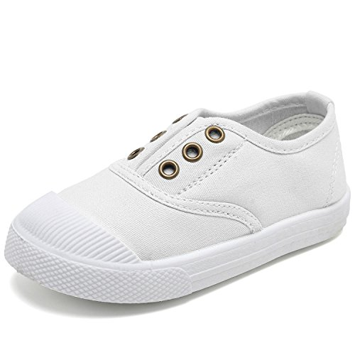 kids white canvas slip on shoes