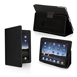 iPad 1 Case, Snugg - Leather Smart Cover with Kick Stand & Lifetime Guarantee (Black) for Apple iPad 1