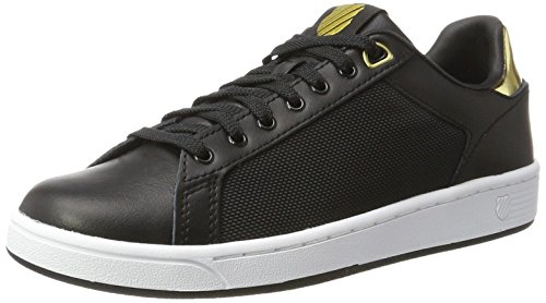 K-Swiss Women's Clean Court Fashion Sneaker, Black/White/Gold, 8 M US