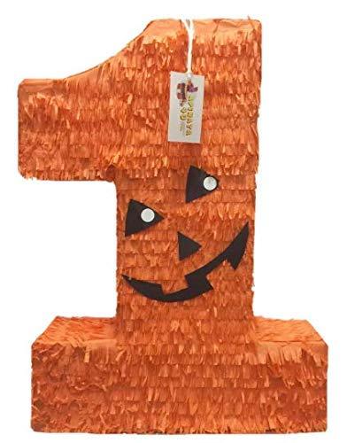 Large Number One Pinata Halloween Jack-O-Lantern Theme Orange Color -