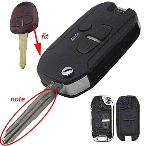 ABRAMOV DMITRY - jingyuqin Flip Car Key Shell For Mitsubishi Lancer Evo Colt Outlander Mirage 3 Button Remote Key Case Cover Keyless Fob ()
