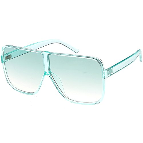 sunglassLA - Oversize Translucent Square Sunglasses Flat Top Color Tinted Lens 69mm - Translucent Glasses
