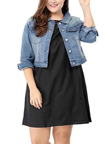 uxcell Women's Plus Size Button Closed Cropped Denim Jacket Light Blue 1X