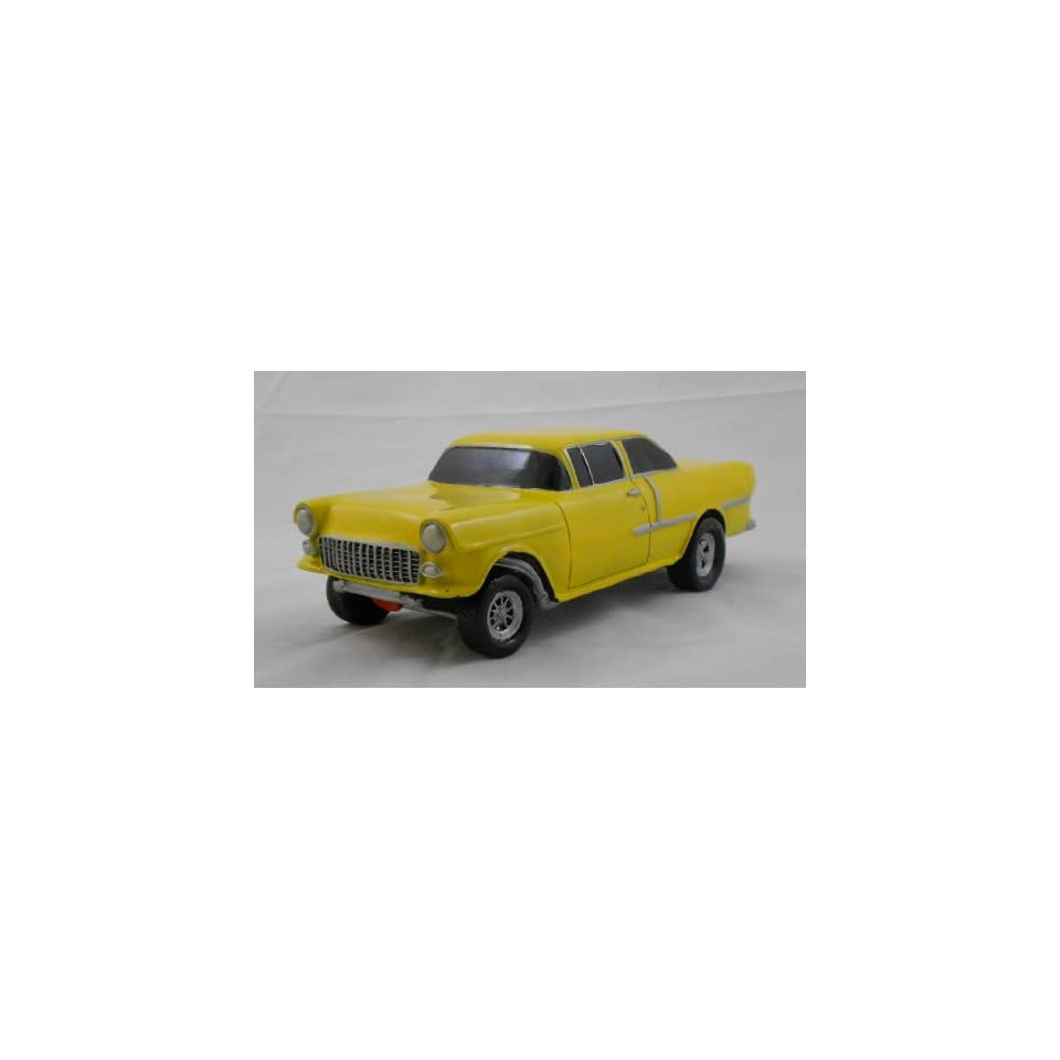 1955 CHEVY GASSER, YELLOW, COLLECTIBLE 118 SCALE MODEL, HOT ROD, STREET ROD, DRAG RACING CAR