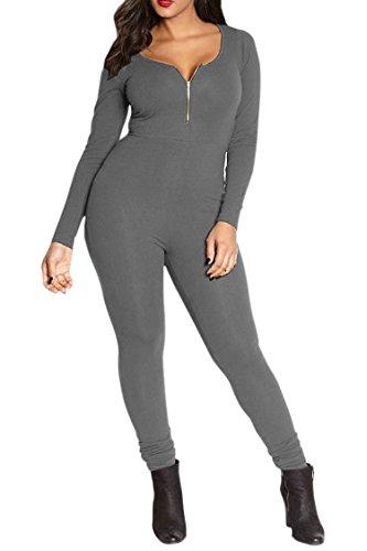 Fixmatti Womens Zip up V Long Sleeve Bodycon Cotton Long Pant Sport Jumpsuit Romper Grey XL by Fixmatti (Image #1)