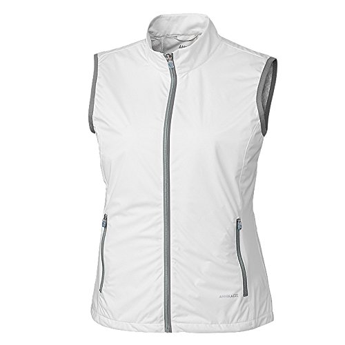 Cutter & Buck Annika Women's Water and Wind Resistant Packable Reflective Rain Delay Vest, White Medium - Lightweight Wind Resistant Vest